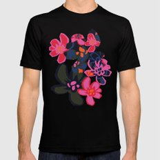 Camelia Woodcut - Winter Mens Fitted Tee SMALL Black