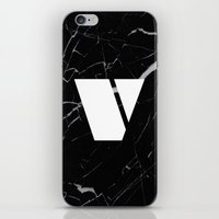 Black Marble - Alphabet V iPhone & iPod Skin