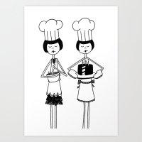 Flappers Baking Art Print