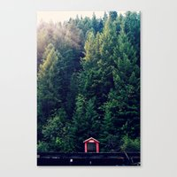 Red In Woods Canvas Print