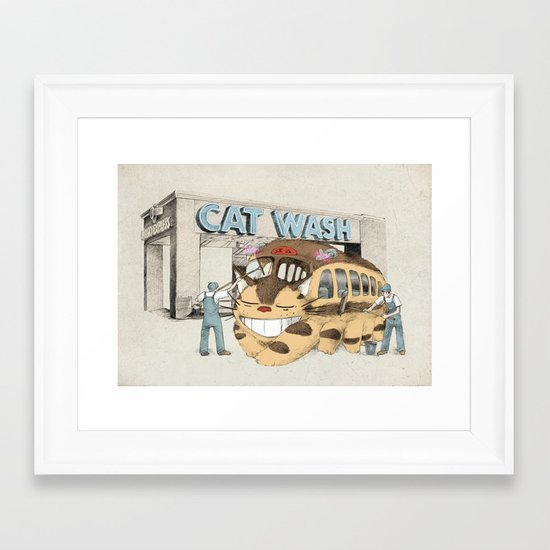 Cat Wash Framed Art Print