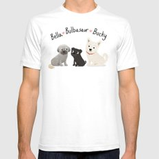 Custom Dog Art- Bella, Bulb, Bucky Mens Fitted Tee SMALL White