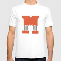 M Lettering Mens Fitted Tee White SMALL
