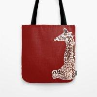 Giraffe in Red Tote Bag