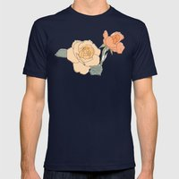 Handdrawn Roses Mens Fitted Tee Navy SMALL