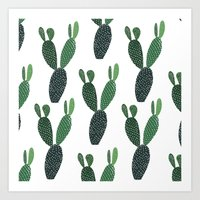 Green cactus - Illustration Cacti pattern Art Print
