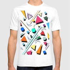 80s pop retro pattern Mens Fitted Tee White SMALL