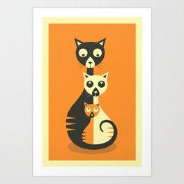Art Print - 3 Cats - Jazzberry Blue