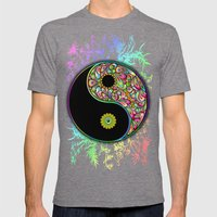 Yin Yang Bamboo Psychedelic Mens Fitted Tee Tri-Grey SMALL