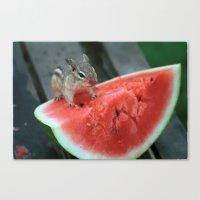 Watermelon Chipmunk Canvas Print