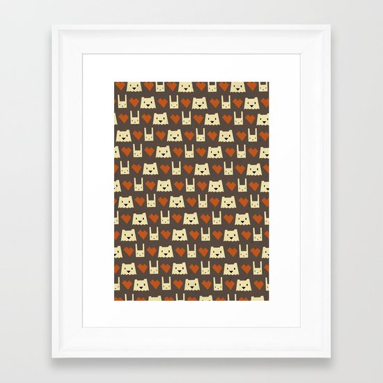 Yeti hearts bunny pattern Framed Art Print