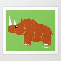 Woolly Rhino Art Print