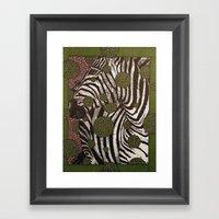 Zebra Face Framed Art Print