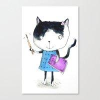 Creative Mono Cat  Canvas Print