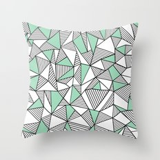 Abstraction Lines with Mint Blocks Throw Pillow