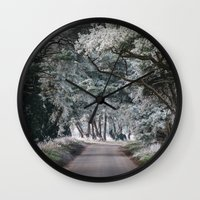 Hoar frost covered trees lining a rural road. Norfolk, UK. Wall Clock
