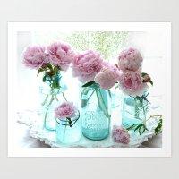Shabby Cottage Pink Peonies Vintage Jars Art Print