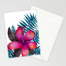 Pink Hibiscus Flower - WHITE Stationery Cards