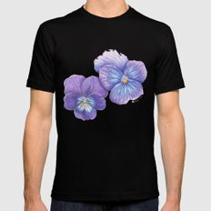 Purple Pansies SMALL Mens Fitted Tee Black