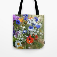 Wild flowers in a summer meadow Tote Bag