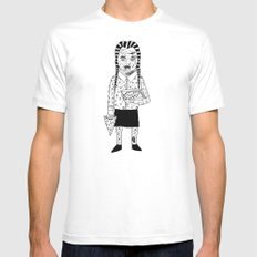 WEDNESDAY ADDAMS SMALL Mens Fitted Tee White