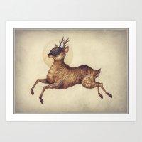 Deer in Leap Art Print