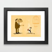 Fishface And The Blue Pe… Framed Art Print