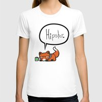 Hipster Fox Womens Fitted Tee White SMALL
