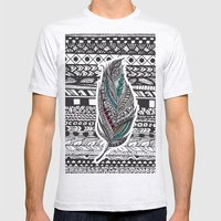 Aztec Feather. Mens Fitted Tee Ash Grey SMALL