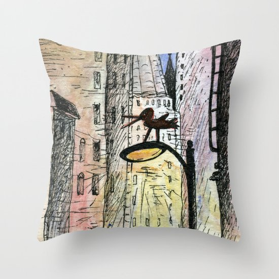 bird in the city Throw Pillow