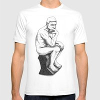 The Thinker Mens Fitted Tee White SMALL