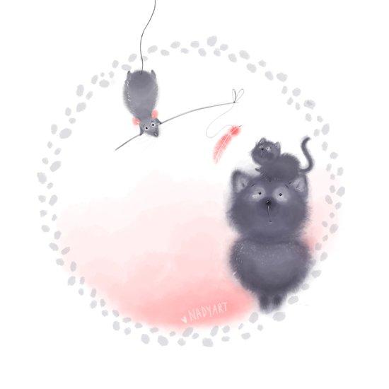 Cat and Rat Art Print