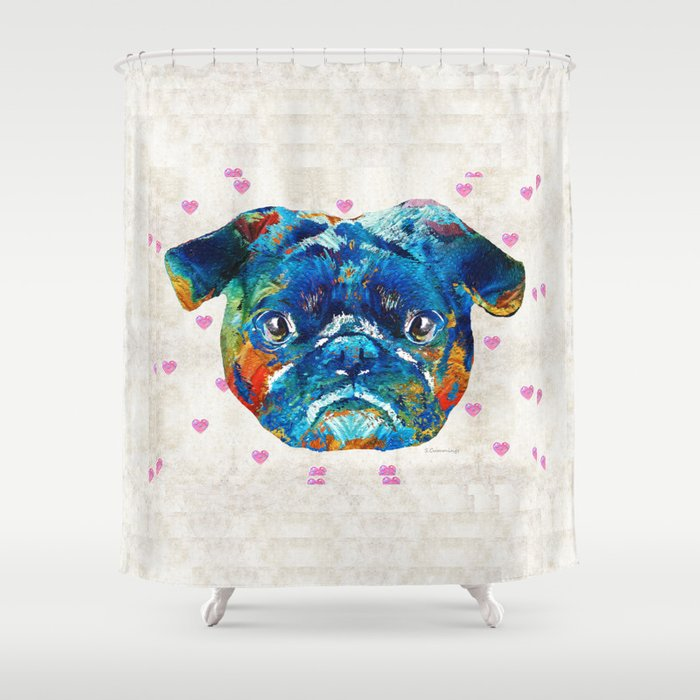 Pug Love Dog Art by Sharon Cummings Shower Curtain by Sharon Cummings ...