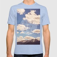 The Mountains Are Callin… Mens Fitted Tee Tri-Blue SMALL