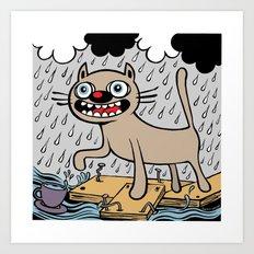 RAIN CATS Art Print