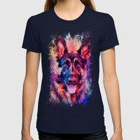 Jazzy German Shepherd Colorful Dog Art by Jai Johnson Womens Fitted Tee Navy SMALL