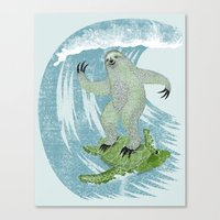 Surfin' Sloth Canvas Print