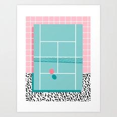 Baller - tennis sports retro pastel palm springs vacation athlete full court memphis style throwback Art Print
