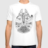 Space Ship Mens Fitted Tee White SMALL