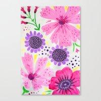 Pinks - Botanical Flower… Canvas Print