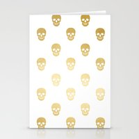 Gold Skull on white Stationery Cards
