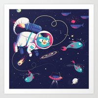 The Adventures of Space Cat Art Print