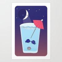 Waxing Waterglass Moon  Art Print