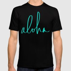 Aloha Tropical Turquoise Mens Fitted Tee Black SMALL