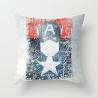 Yankee Captain Grunge Su… Throw Pillow