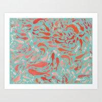 Koi - Coral & Turquoise Art Print