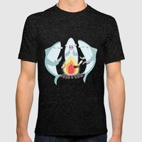 A Shiver of Sharks Mens Fitted Tee Tri-Black SMALL