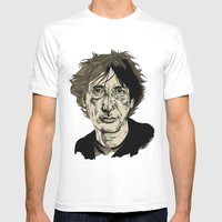 Neil Gaiman Mens Fitted Tee White SMALL