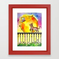 Cat and Butterfly Framed Art Print