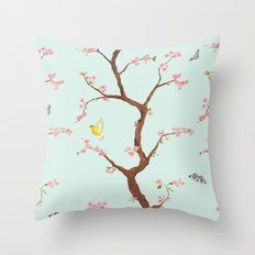 Jenny Chinoiserie on mint Throw Pillow